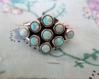 RING  - NINE -  Fire OPALS - 925 - Sterling Silver  - size 8 opal498