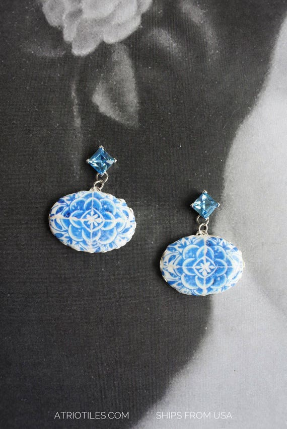 """Earrings Stud Tile Rhinestone Portugal Azulejo Blue 16th Century Tomar Convent of Christ - Camellias Ships from USA 1"""" long - Cubic Zirconia"""