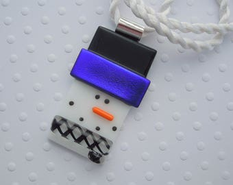 Christmas Ornament - Snowman Jewerly - Dichroic Fused Glass Pendant - Christmas Pendant- Snowman Necklace - Christmas Jewelry X1658