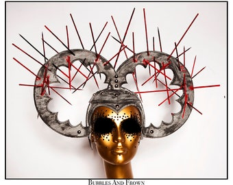 Impaled... Double Halo In Aged Silver With Spikes Studs Nimbus Religious Iconography Virgin Mary