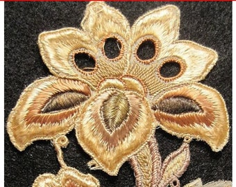 Antique Silk Applique Metallic Edwardian