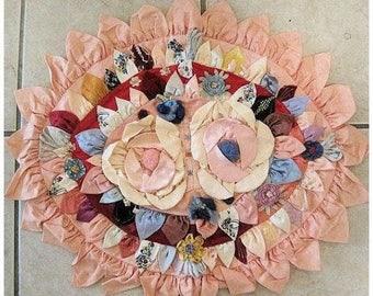 Vintage Boudoir Pillow Roses Flapper Satin