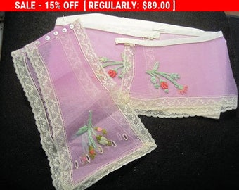 Antique Collar Cuffs 1920s Lilac Rosebuds