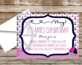 Nautical Girl Birthday Party Invitation