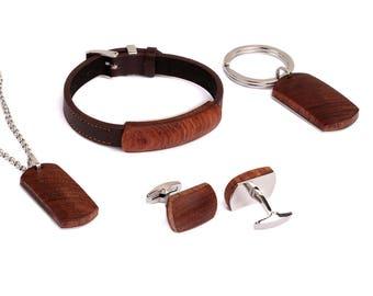 African Bubinga and Leather Bracelet Bubinga Wooden and Stainless Steel Necklace Pendant Bubinga Cufflinks Bubinga Wood Keychain Jewelry Set