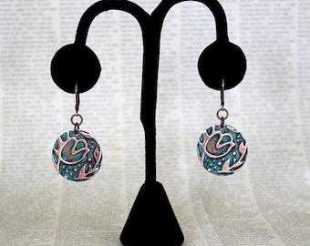 Vintaj Earrings, Circle Earrings, Flower Earrings, Tulip Earrings, Hand Painted Jewelry, Patina Jewelry, Vintage Jewelry, Copper Jewelry