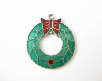 Vintage Sterling Silver Green and Red Christmas Wreath Enamel Charm
