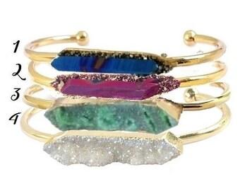 Raw Crystal Quartz Point Bracelet Bangle Rainbow Aura Titanium Pyrite Drusy Druzy Rose Gold Stacking Green Blue Pink White Turquoise Healing