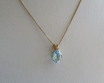 """Pretty Little 14K Y Gold Blue Topaz & Diamond Pendant Necklace, 18.5"""" 14K silky Box Chain, free US first class shipping on vintage items"""