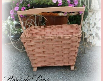 vintage basket in perfect shabby pink ~ footed with wooden handle Magazine stand ~ towel holder ~