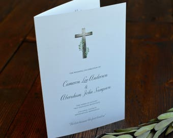Catholic Mass Marriage Ceremony Wedding Programs, With Wooden Cross and Greenery