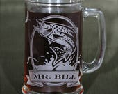 NEW Personalized Trout Coffee Cup, Engraved Gift for Fly Fisherman, Angler, Etched Glass Present for Dad or Boyfriend