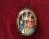 Antique French ex-voto reliquary, frame brass domed glass religious lithography