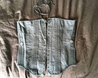 Antique blue/grey french cotton corset