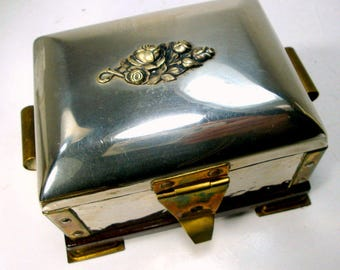 STRANGE Vintage Metal Box, Hinged Jewelry Box, Mixed Metals w Wood Shabby Silver Dresser Box, Unknown Origin