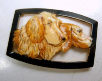 Hand Painted DOG Brooch, 1960s Hound Dogs Or Retrievers, Repainted Altered Art Goldtone Metal Pin,