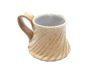Single Handmade Pottery Mug with a Citron Twirly Skirt