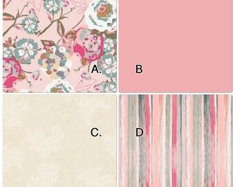 Baby Bedding Crib Set Pink Beige Tan Cream Sage Vintage Floral