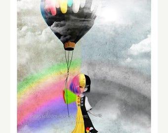 """50% Off SALE 5x7 Fantasy Art Print Black and White Rainbow Girl """"Causing a Stir"""" Cute Premium Giclee Fine Art Print"""