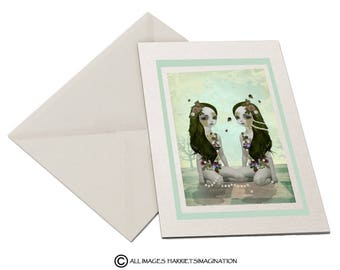 Surreal Greeting Card - Twin Sisters - Daisy Chains & Bumble Bees