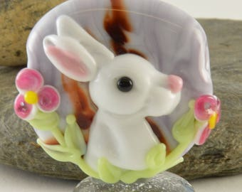 WHITE Rabbit Glass Sculpture Collectible, Focal Bead, Izzybeads SRA