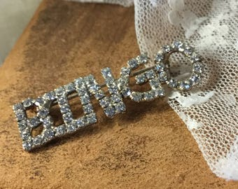 Bling For The Bingo Lover Clear Rhinestone Sparkling Brooch Pin Unsigned Silver Tone 1970's 1980's Capital Letters Word Brooch