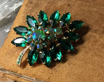 Christmas Greens Rhinestone Gold Tone Floral Spray Brooch Pin Unsigned 1980's 1990's Tone on Tone Greens Navettes Rounds Prong Set Feminine