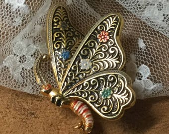 Playful Damascene Butterfly Figural Brooch Pin Unsigned 1950's 1960's Black Gold Blue Green Red Ornate Design Feminine Woman Animal Insect