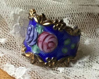 So Romantic Blue Pink Roses Royal Blue Guilloche Enamel Vermeil Sterling Cigar Band Ring Signed Vargas 1950's 1960's Size 7 Hand Painted