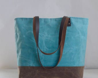 Pale Turquoise Waxed Canvas Tote Bag with Leather Straps - Ready to Ship