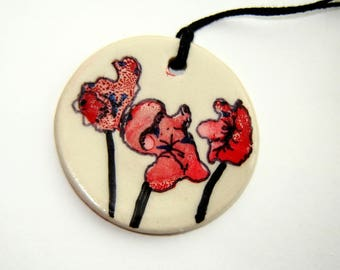 Red Poppies Ornament – Floral Decoration – Small Ceramic Embellishment – Pendant - Flower Painting – Alcohol Ink