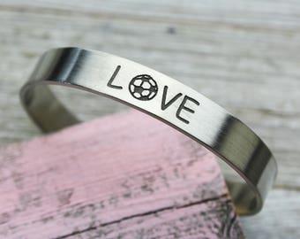 Love Soccer Cuff Bracelet, Hand Made, Fine Pewter