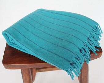 Vintage Faribo Camp Blanket with Fringe / Cabin Throw / Striped Wool Blanket / Sky Blue