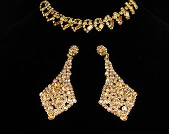 Vintage Rhinestone set / yellow choker / Dramatic LONG Chandelier earrings  / demi Parure necklace  / layers of yellow and topaz glass