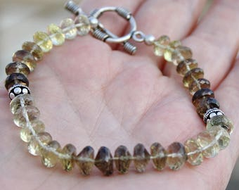 "Ombre Smokey Lemon Quartz Faceted Length Drilled Onion Briolettes and Rondelles Silver Beaded Toggle Bracelet 8"" long"