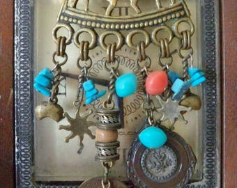 Relic Necklace - Horse with image of men - Turquoise & Coral Beads - Coin, sun and moon - Rustic One of a Kind - bycat