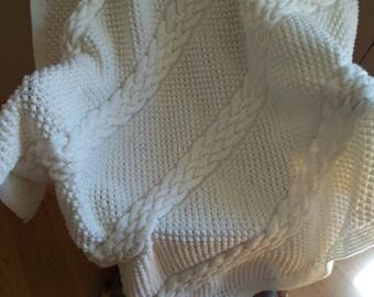 Knit Afghan in Cable and Pebbles in Soft White, Blanket, Throw