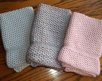 Dishcloths Knit in Cotton, in Pink Sand, Lt. Grey and combo, Washcloth, Napkin,