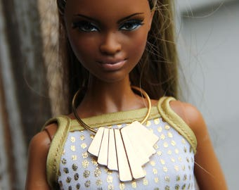 Gold Bib Doll Necklace Jewelry Set 1/6th Scale Fashion Dolls Egyptian Tribal Style