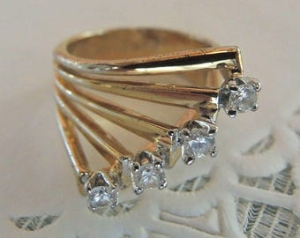 18K THGF Gold Filled Cocktail Ring - Costume Jewelry - Size 6 3/4 - REDuCED