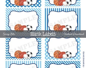 Instant Download . Printable Sports Labels, Printable Blank Favor Tags, Sports Food Labels, Sports Party Food Labels, Blank Sports Labels