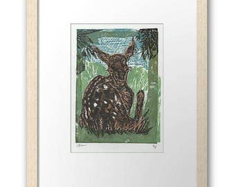 Gauguin Inspired Fawn block print ( small print, framed  and mounted )