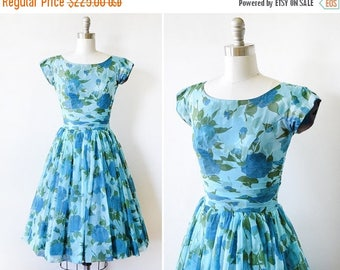 20% OFF SALE floral chiffon dress, vintage 50s blue floral dress, 1950s party dress, extra small xs