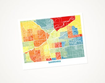 Bakersfield Map Print.  Choose the Colors and Size.  California city art.  Lovely Housewarming Gift.