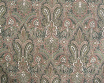 Decorator Fabric Remnant Yardage Paisley Cotton Mill Creek Road To Bombay Green Brown Print, 3 Large Cut Pieces, Upholstery, Quilting Etc.