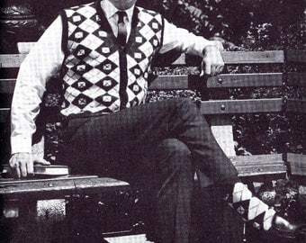 Man's Argyle Vest~Sock Duo Vintage Knitting Pattern Sleeveless Cardigan Men's Chest Sizes 36 to 46 Inches Digital Pattern Download