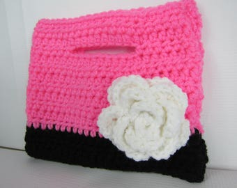 Crochet Purse, Childs Pink Purse, Pink and Black Purse, Girls gift idea, kids toys, gifts ala carte