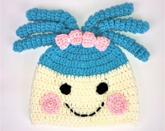 Lalaloopsy inspired hat, Crochet beanie Hat, All Sizes, Baby, Child, Kid, Adult, Women, Men, Girl, Boy, unisexz