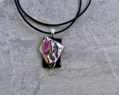 Architectural Dichroic Glass Pendant in Purple Mixture and Black