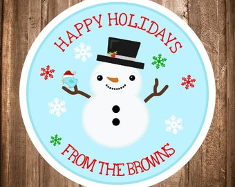 Snowman Christmas Stickers, Happy Holiday Labels, Christmas Favor Tags, Personalized Christmas Stickers, Snowman Favors - You Print